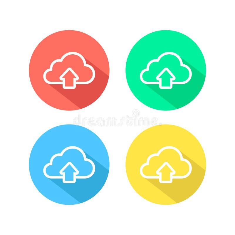Icono simple de la nube de la carga por teletratamiento del esquema Símbolo linear con el esquema fino Fije de los iconos blancos libre illustration