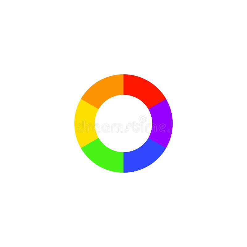 Icono simple de la rueda de color aislado en el fondo blanco Logotipo circular con transiciones del golor ilustración del vector