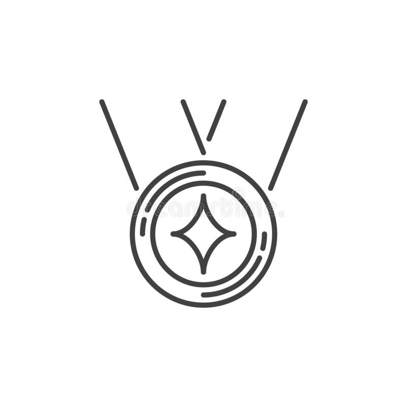 Icono simple del concepto del vector de la medalla en la línea estilo fina stock de ilustración