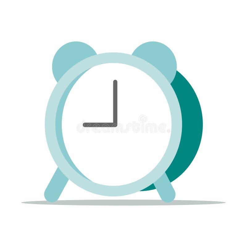 Icono simple del despertador de la historieta aislado en el fondo blanco ilustración del vector