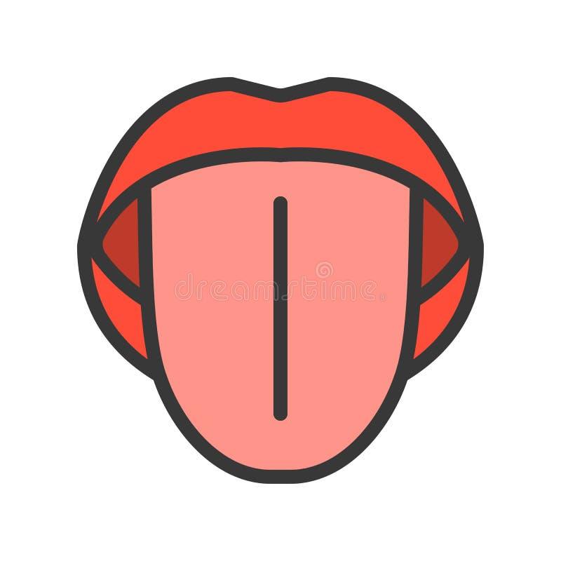 Icono simple del esquema de la lengua, ejemplo del vector del órgano ilustración del vector