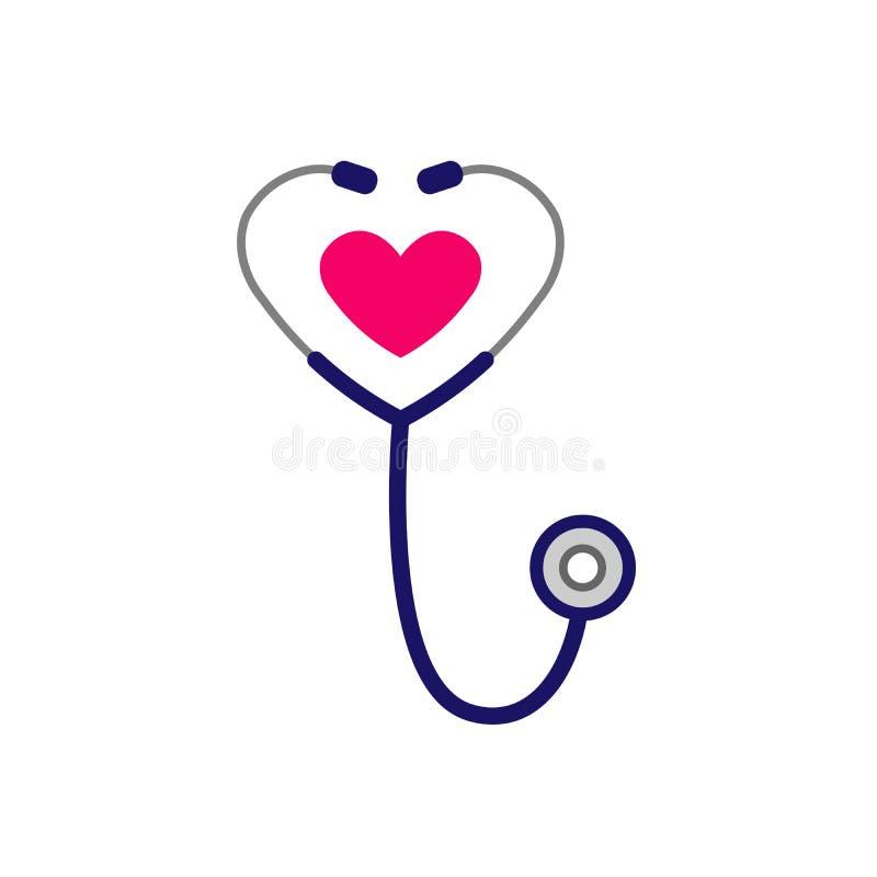 Icono simple del estetoscopio con forma del coraz?n S?mbolo de la salud y de la medicina Aislado en el fondo blanco Ejemplo del v ilustración del vector