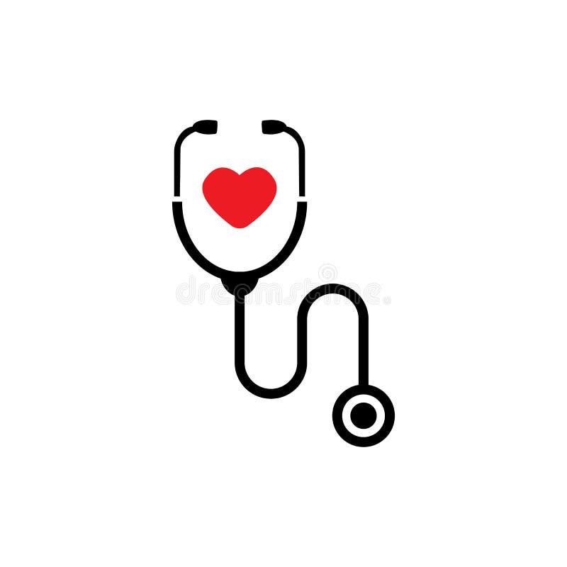 Icono simple del estetoscopio con forma del coraz?n S?mbolo de la salud y de la medicina, ejemplo aislado del vector ilustración del vector