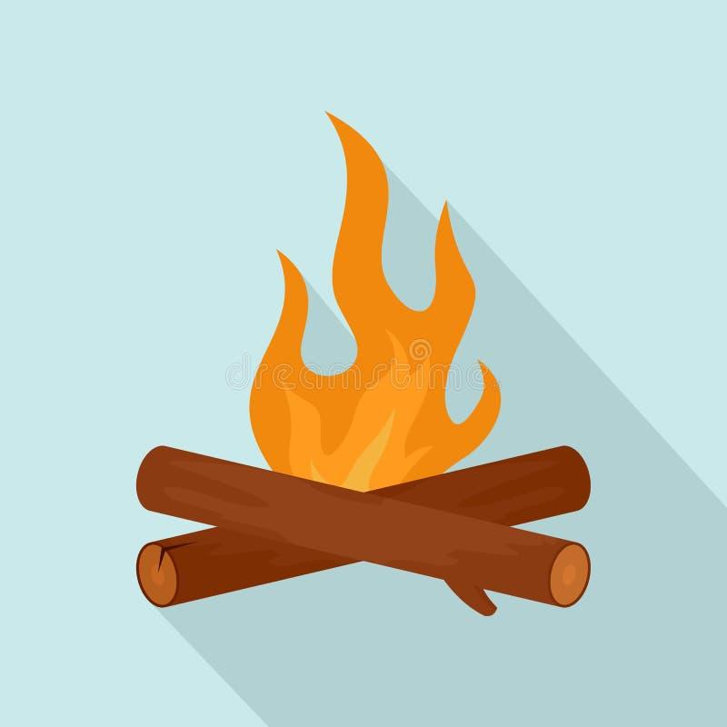 Icono simple del fuego del campo, estilo plano ilustración del vector