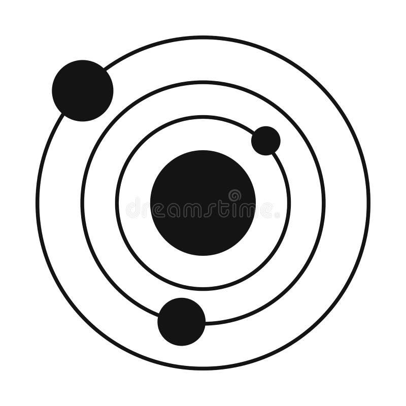Icono simple del negro de la Sistema Solar ilustración del vector