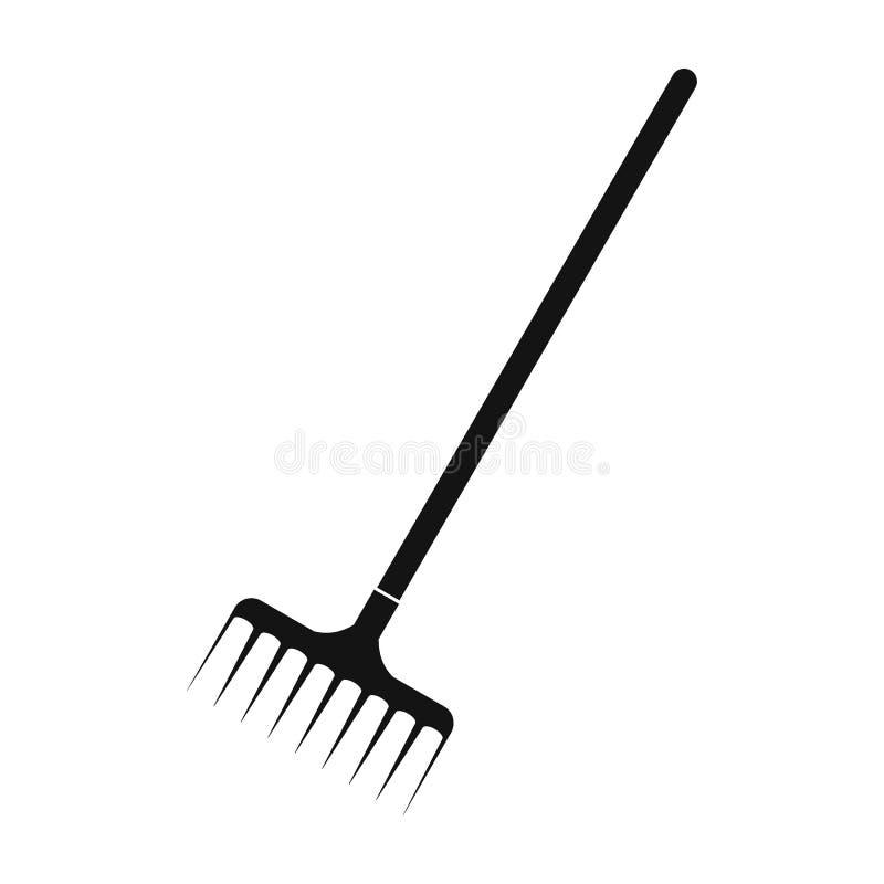 Icono simple del negro del rastrillo de jardín libre illustration