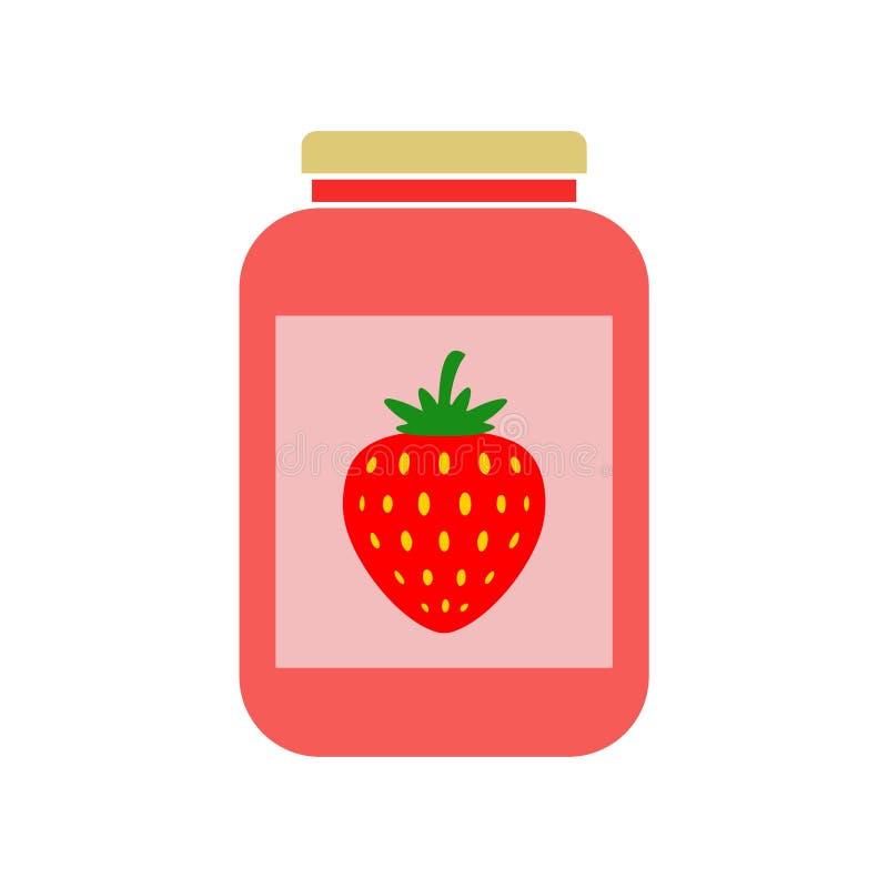 Icono simple del tarro de la mermelada de fresa stock de ilustración