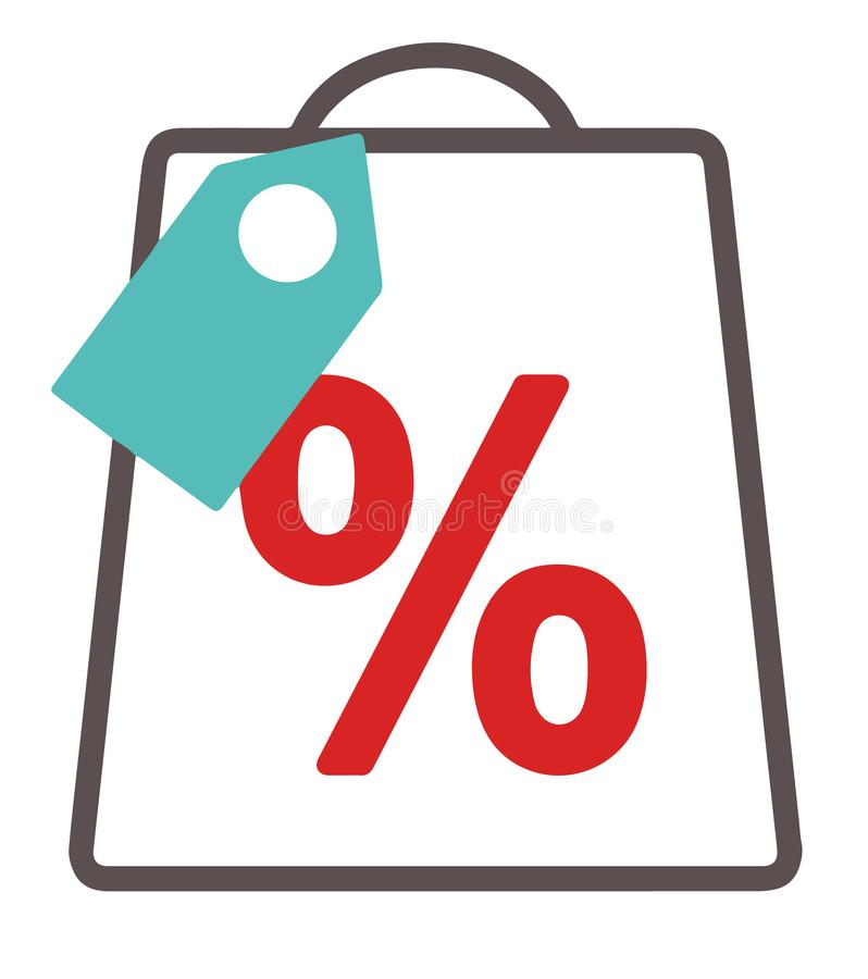 Icono simple del vector con el bolso de compras con el precio y la muestra del por ciento del descuento stock de ilustración