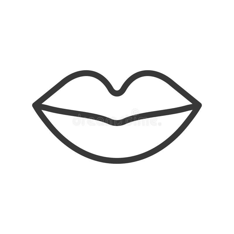 Icono simple del vector del esquema de la boca, órgano relacionado stock de ilustración