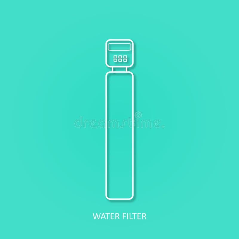 Icono simple del vector del esquema del filtro de agua Bebida y filtros caseros de la purificación del agua Icono del vector del  ilustración del vector