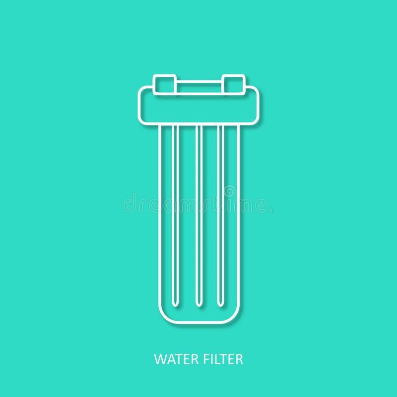 Icono simple del vector del esquema del filtro de agua Elemento aislado del diseño en estilo de papel de moda del arte 3d En la l stock de ilustración