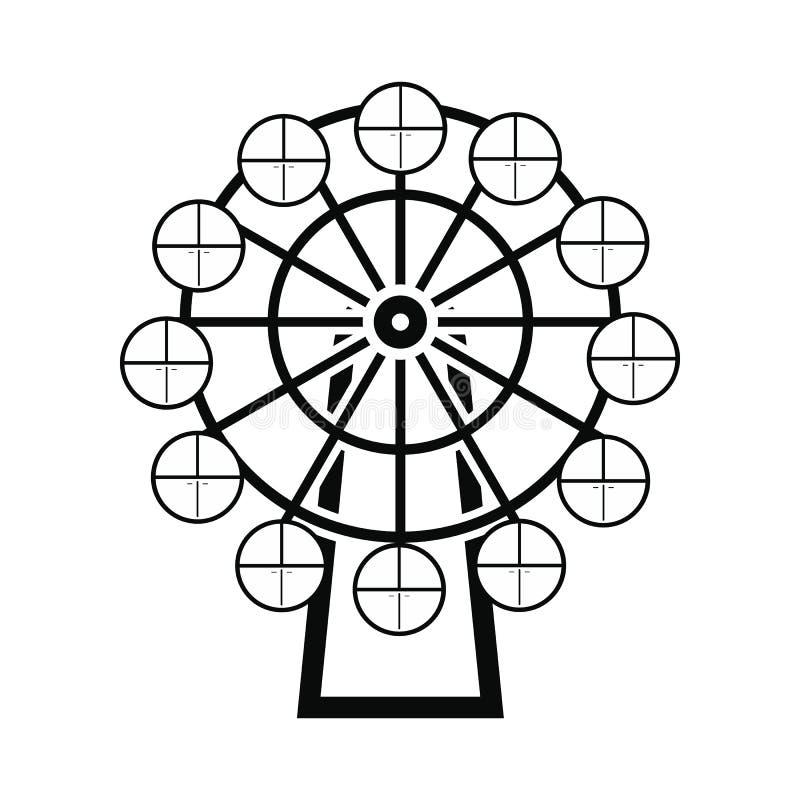 Icono simple negro de la noria stock de ilustración
