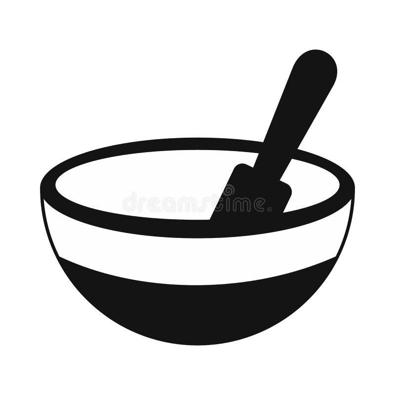 Icono simple negro del mortero y de la maja stock de ilustración