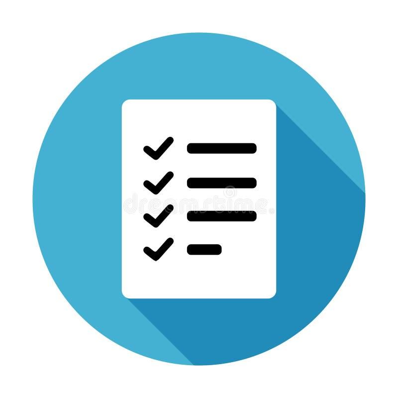 Icono simple, plano, circular de la lista de control Blanco en azul ilustración del vector