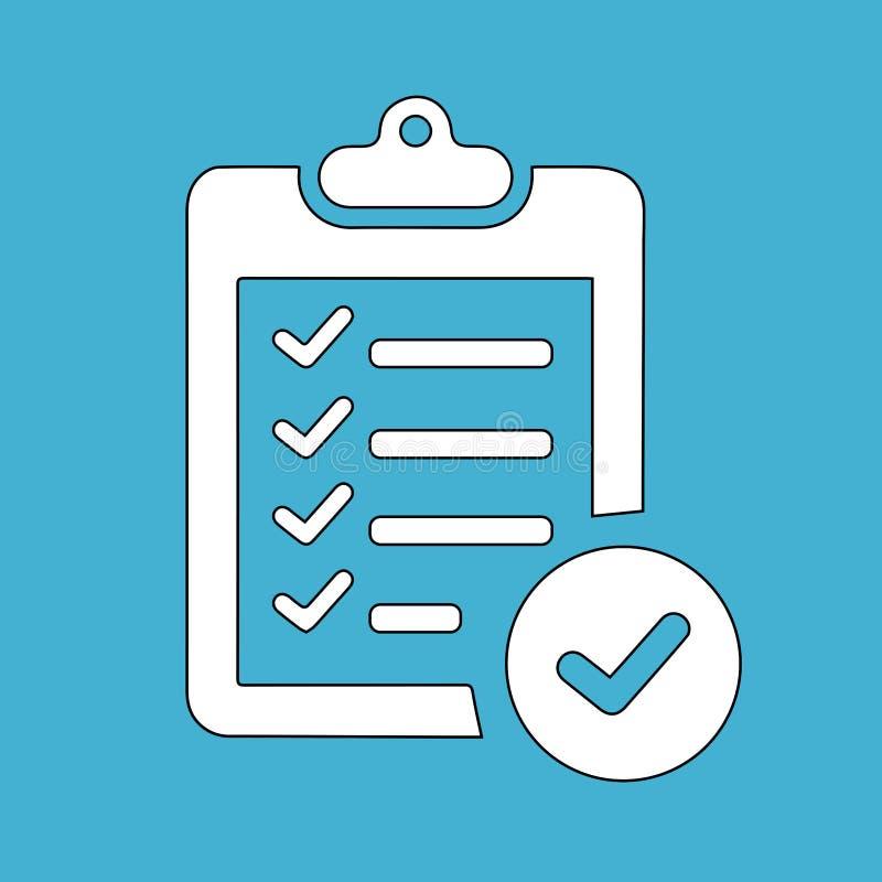 Icono simple, plano de la lista de control Blanco en azul stock de ilustración