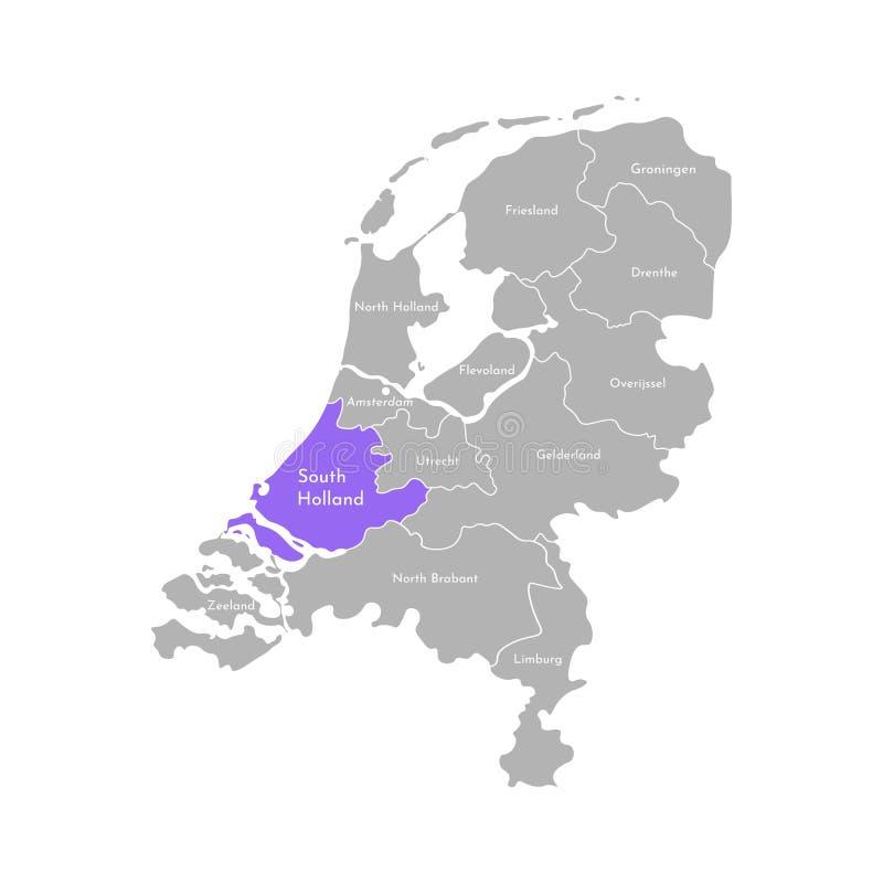 Icono simplificado aislado vector del ejemplo con la silueta gris de las provincias de Holanda de Países Bajos Holanda Meridiona libre illustration