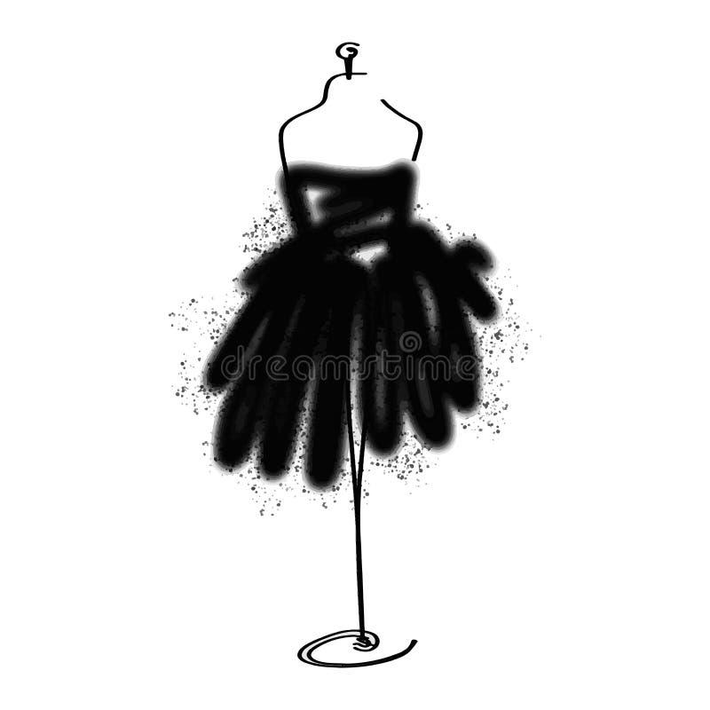 Icono simulado de la moda del sastre en el fondo blanco Taller, diseñador, constructor, objeto de la modista Símbolo negro de las libre illustration