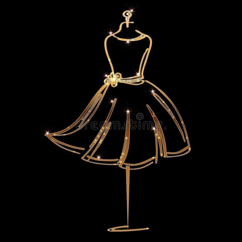 Icono simulado de la moda del sastre en fondo negro Taller, diseñador, constructor, objeto de la modista Símbolo chispeante de la libre illustration