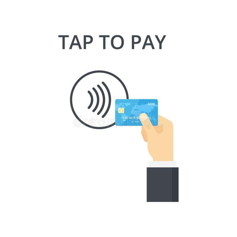 Icono sin contacto del pago Golpee ligeramente para pagar el concepto - muestra stock de ilustración