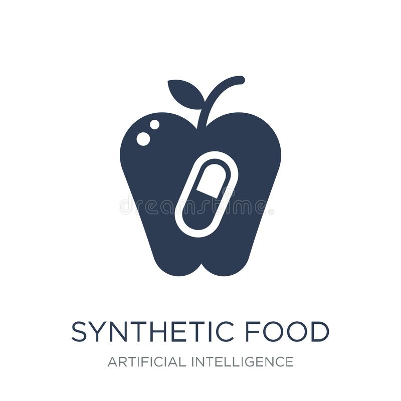 Icono sintético de la comida Icono sintético de la comida del vector plano de moda en w ilustración del vector