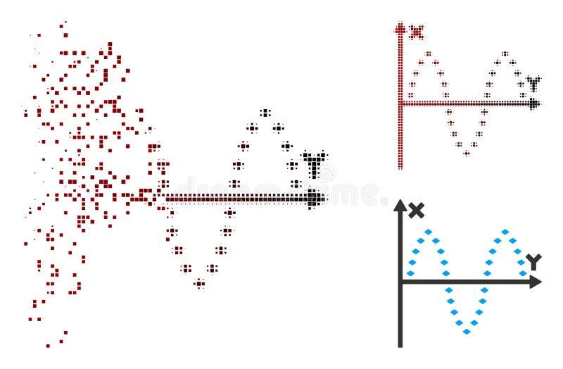 Icono sinusoide punteado tono medio destrozado del diagrama del pixel ilustración del vector