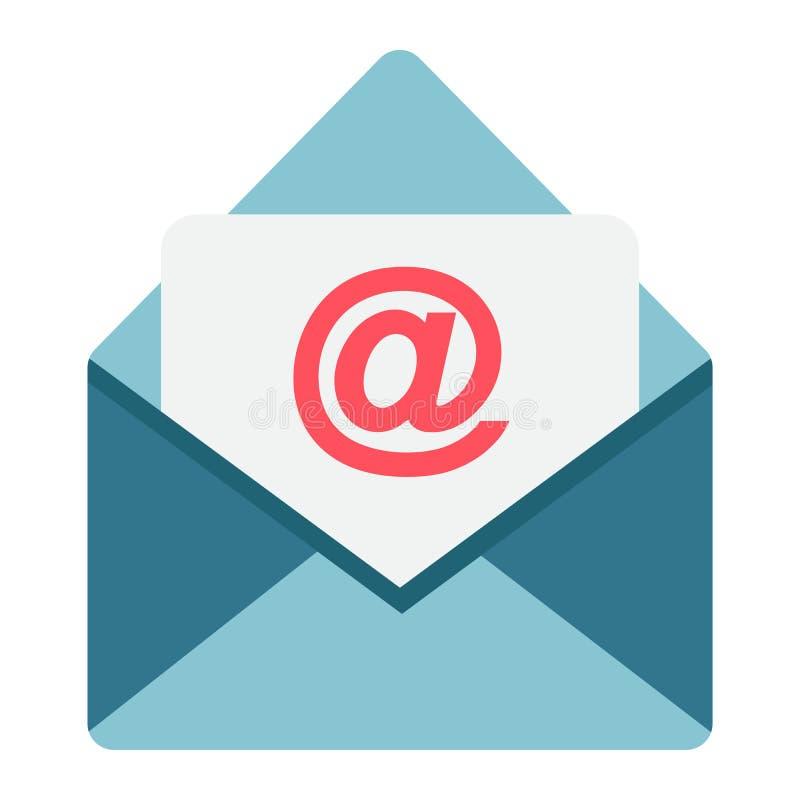 Icono, sobre y sitio web planos del correo electrónico ilustración del vector