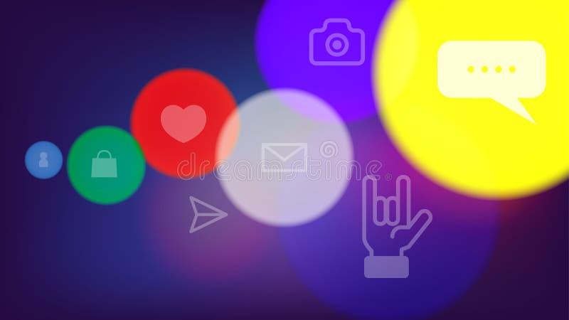 Icono social de la conexión de red del ordenador stock de ilustración
