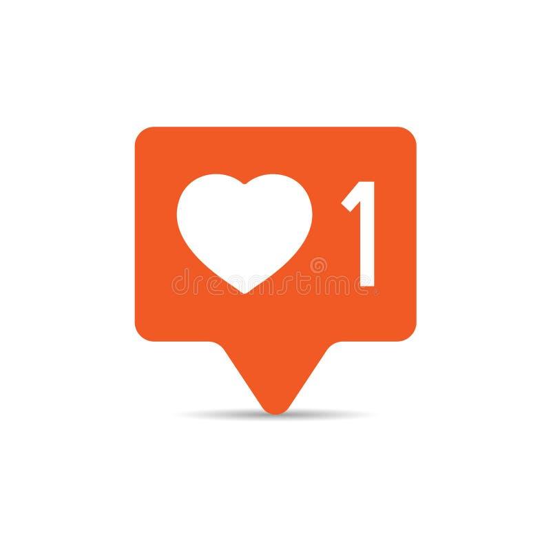 Icono social de la muestra de la notificaci?n de los medios en estilo plano Como, el comentario, sigue el ejemplo del vector en e libre illustration