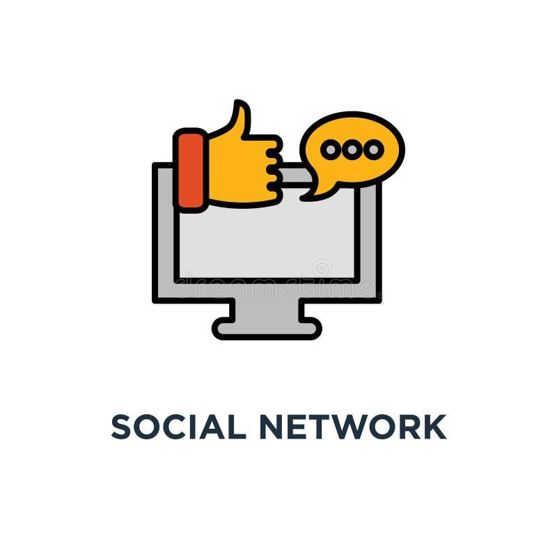 Icono social de la red página web y ordenador portátil, comunicación en línea, relaciones públicas, diseño del símbolo del concep stock de ilustración