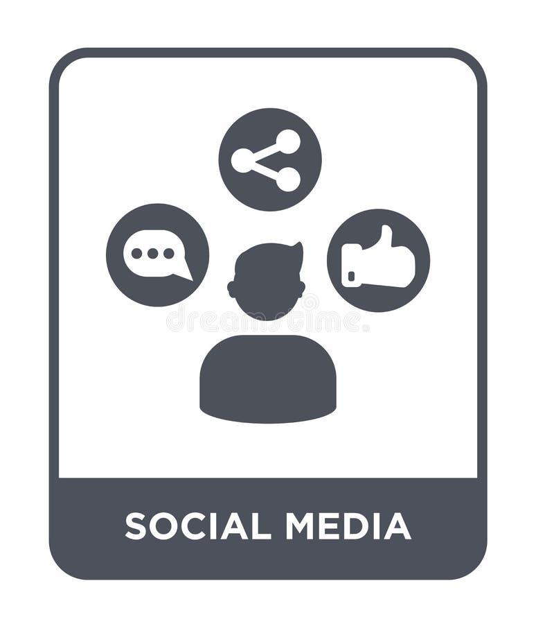 icono social de los medios en estilo de moda del diseño Medios icono social aislado en el fondo blanco icono social del vector de stock de ilustración