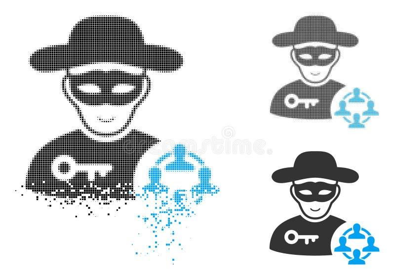 Icono social de semitono destrozado del pirata informático de Pixelated con la cara stock de ilustración