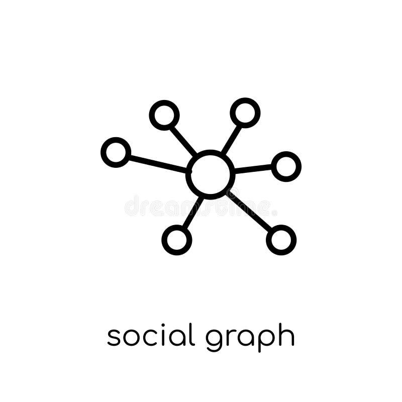 Icono social del gráfico Gráfico social del vector linear plano moderno de moda ilustración del vector