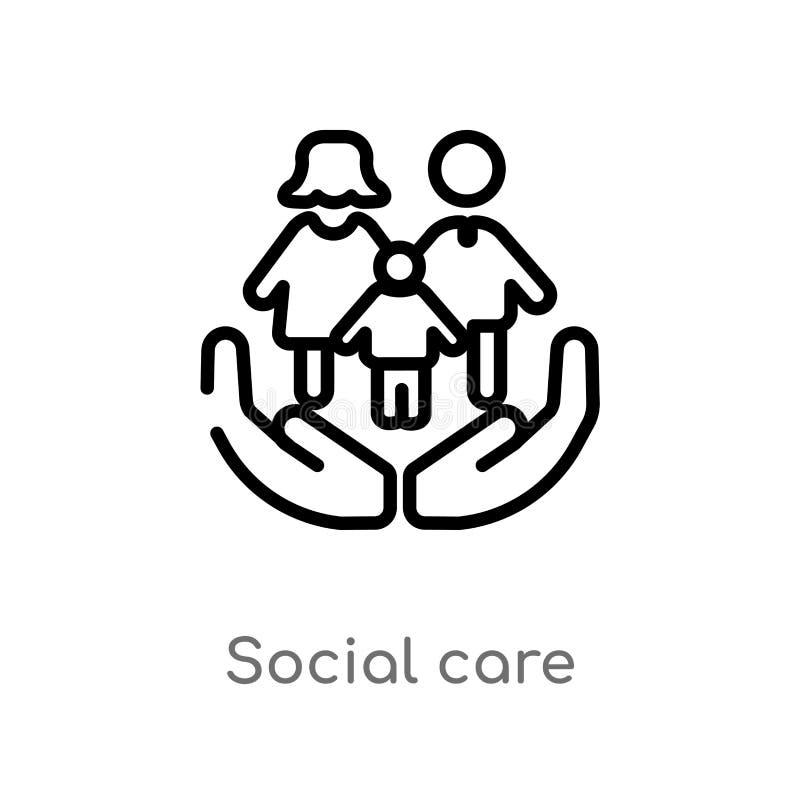 icono social del vector del cuidado del esquema línea simple negra aislada ejemplo del elemento del concepto de la gente Movimien libre illustration