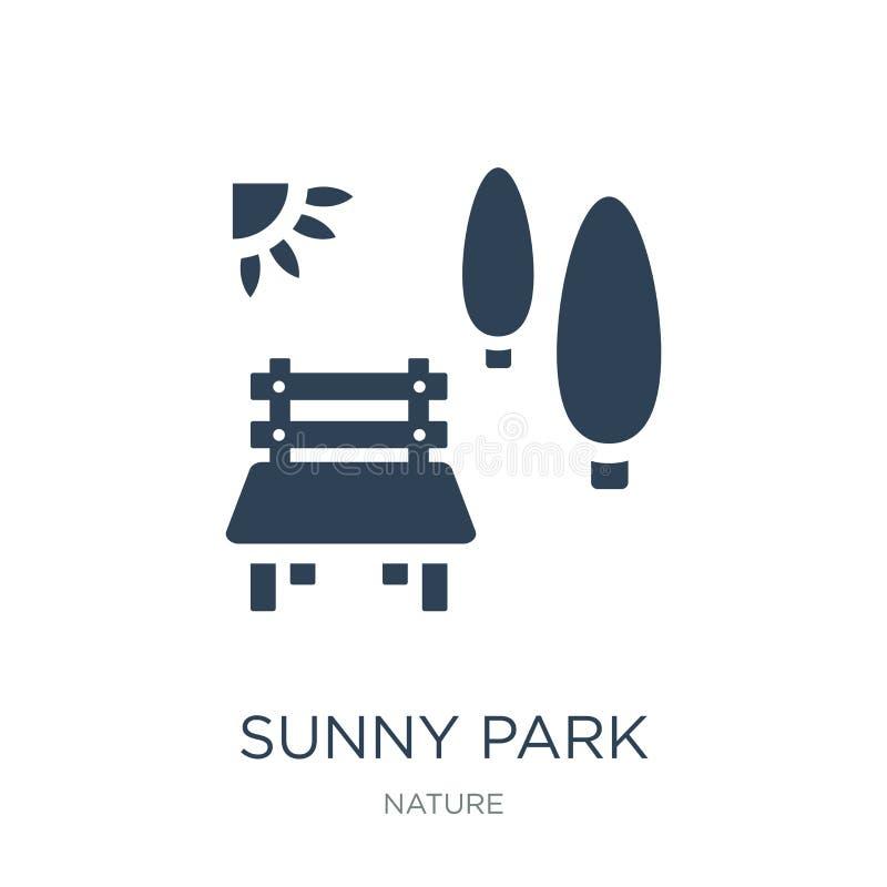icono soleado del parque en estilo de moda del diseño icono soleado del parque aislado en el fondo blanco icono soleado del vecto ilustración del vector