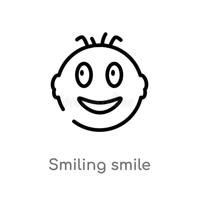 icono sonriente del vector de la sonrisa del esquema línea simple negra aislada ejemplo del elemento del concepto de la interfaz  libre illustration