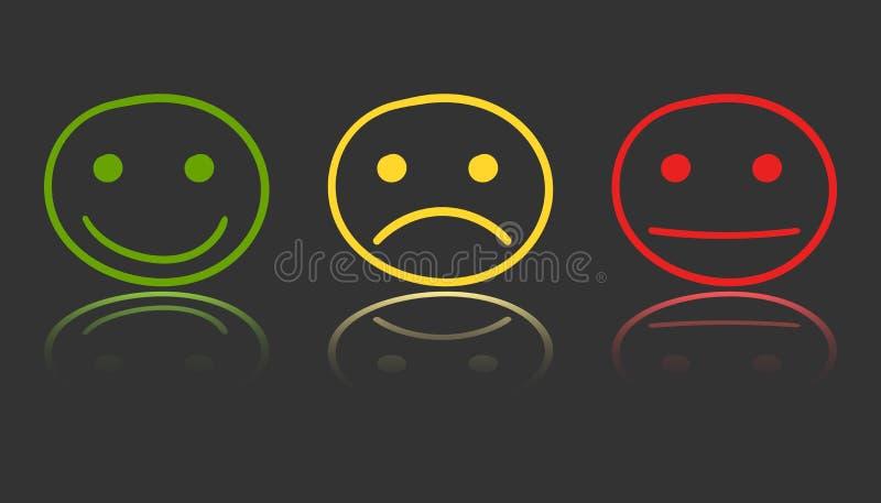 Icono sonriente dibujado mano en el espejo Illustrati del vector de la cara de la emoción libre illustration