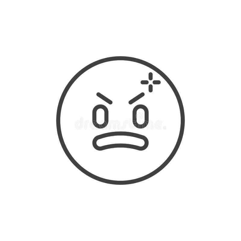 Icono sonriente enojado del esquema del emoticon stock de ilustración