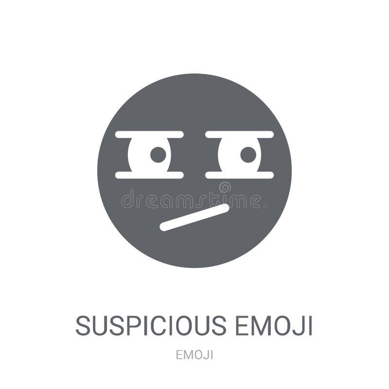 Icono sospechoso del emoji  ilustración del vector