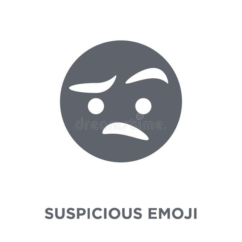 Icono sospechoso del emoji de la colección de Emoji stock de ilustración