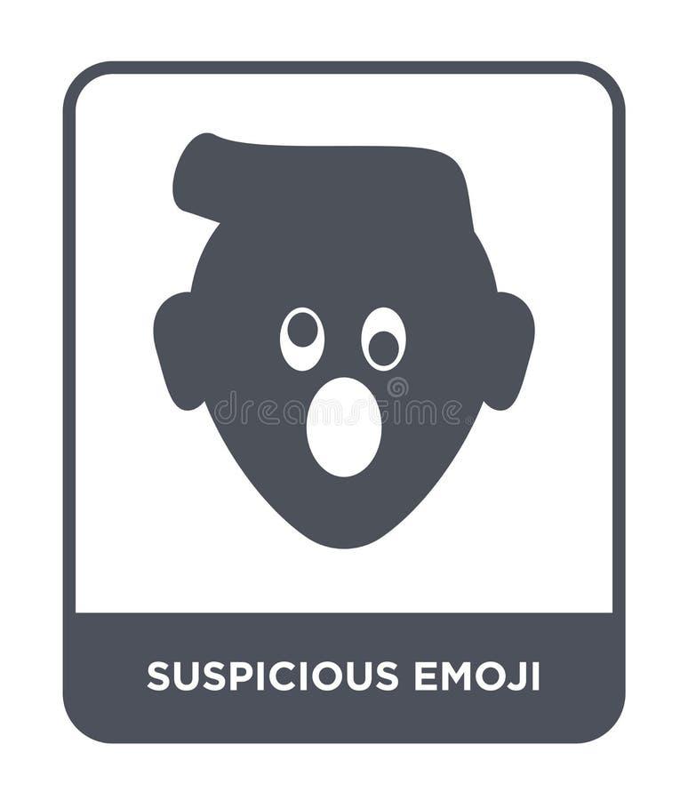 icono sospechoso del emoji en estilo de moda del diseño icono sospechoso del emoji aislado en el fondo blanco icono sospechoso de libre illustration