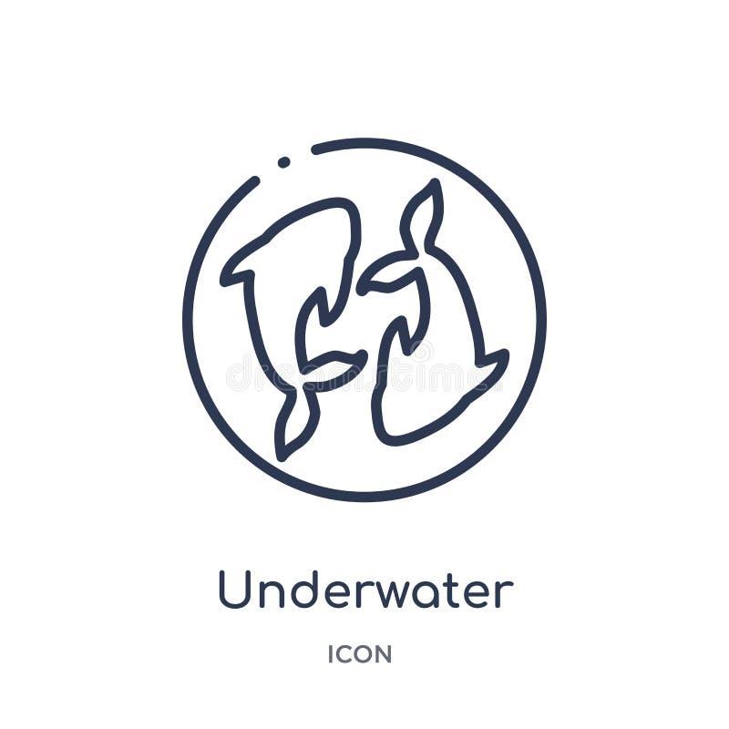 Icono subacuático linear de la colección asiática del esquema Línea fina vector del submarino aislado en el fondo blanco de moda  libre illustration