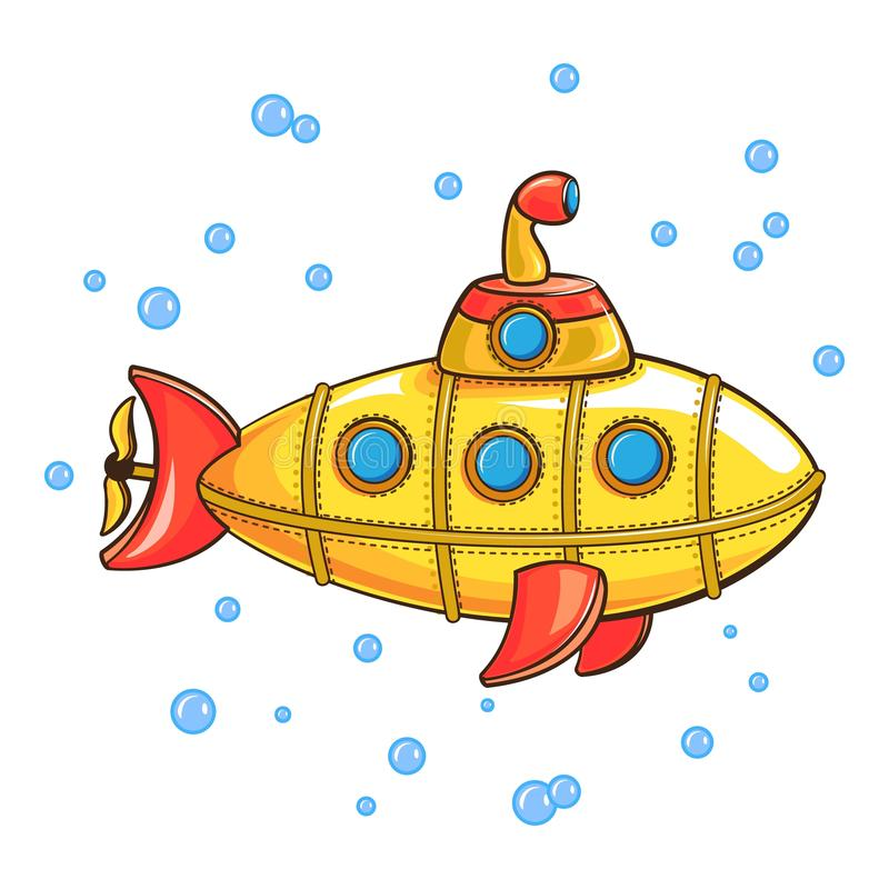 Icono submarino amarillo, estilo de la historieta ilustración del vector
