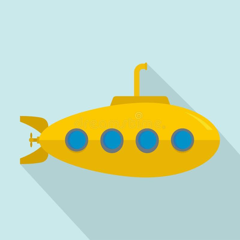 Icono submarino amarillo, estilo plano libre illustration