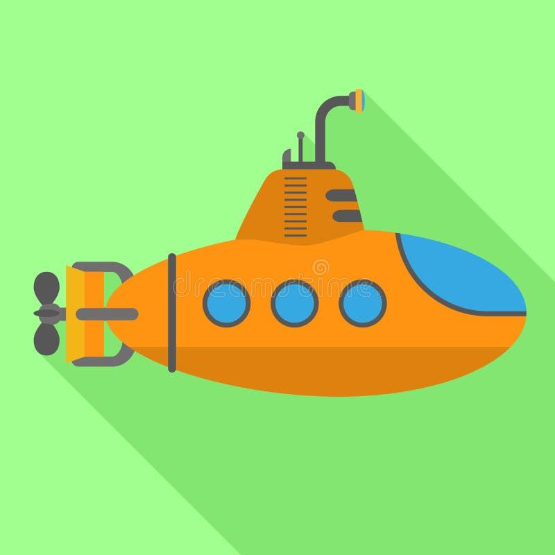Icono submarino del periscopio, estilo plano stock de ilustración