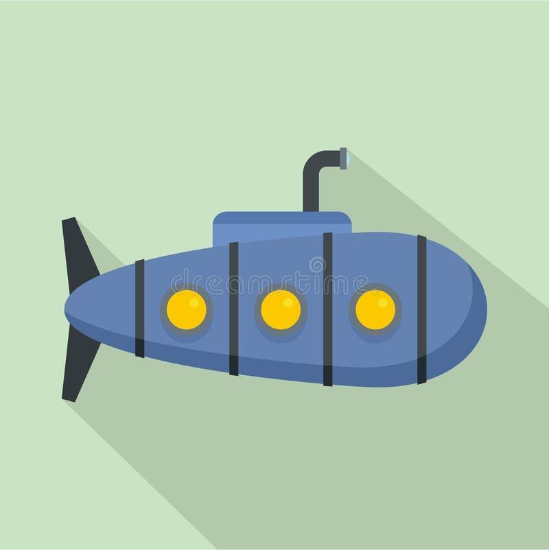 Icono submarino náutico, estilo plano ilustración del vector