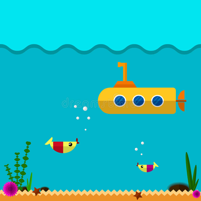 Icono submarino plano stock de ilustración