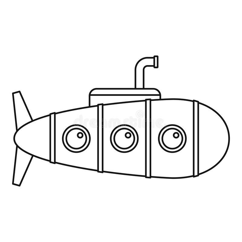 Icono submarino retro, estilo del esquema libre illustration