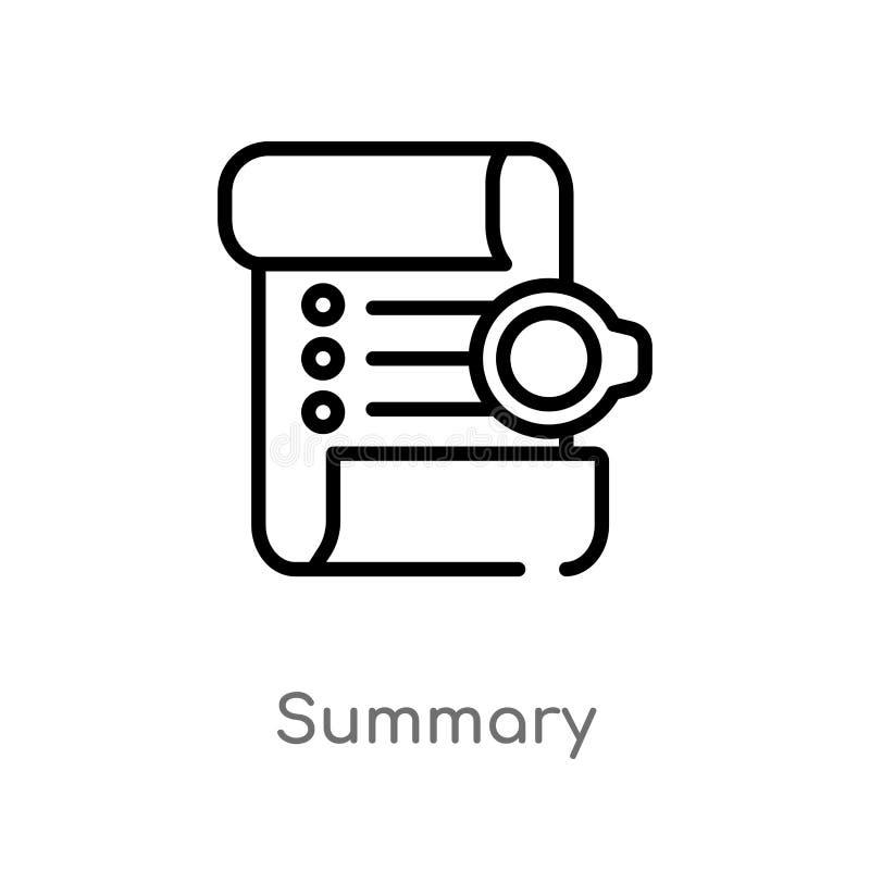 icono sumario del vector del esquema línea simple negra aislada ejemplo del elemento del concepto de la tecnología Movimiento Edi libre illustration