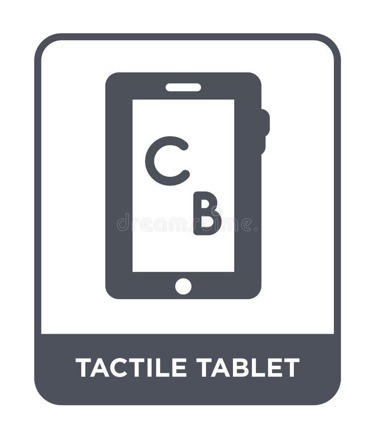 icono táctil de la tableta en estilo de moda del diseño Icono táctil de la tableta aislado en el fondo blanco icono táctil del ve stock de ilustración