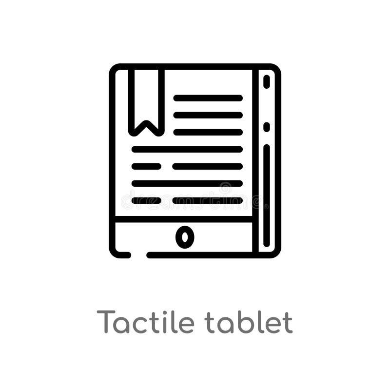 icono táctil del vector de la tableta del esquema línea simple negra aislada ejemplo del elemento del concepto de la educación Mo ilustración del vector